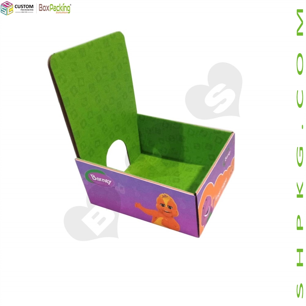 Color Printed Finger Barney Counter Top Display Box