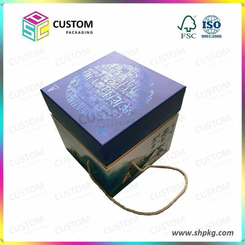 Glass Packaging Box with rope handle SPOT UV VARNISHING