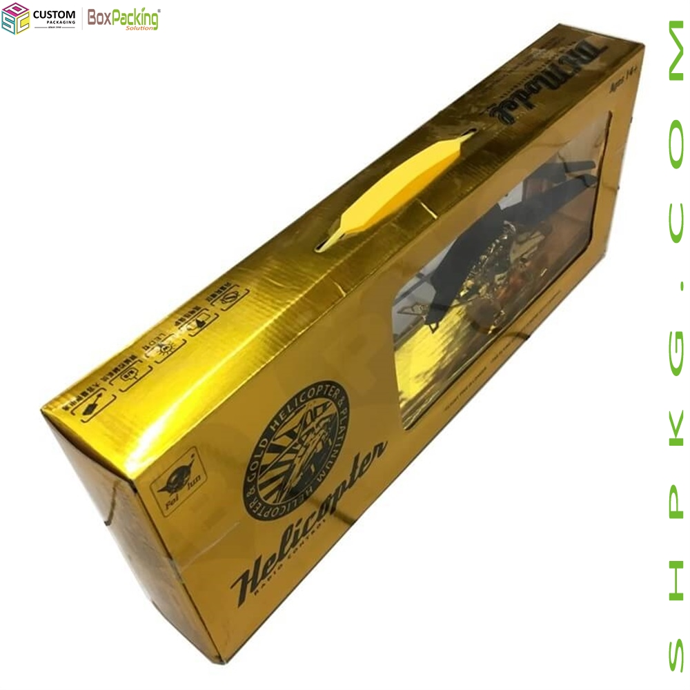Gold Printing Packaging Box For Toy Helicopter