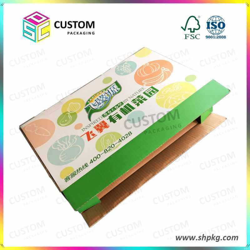 Paper Box Laminated Waterproof with Plastic Handle for Vegetable