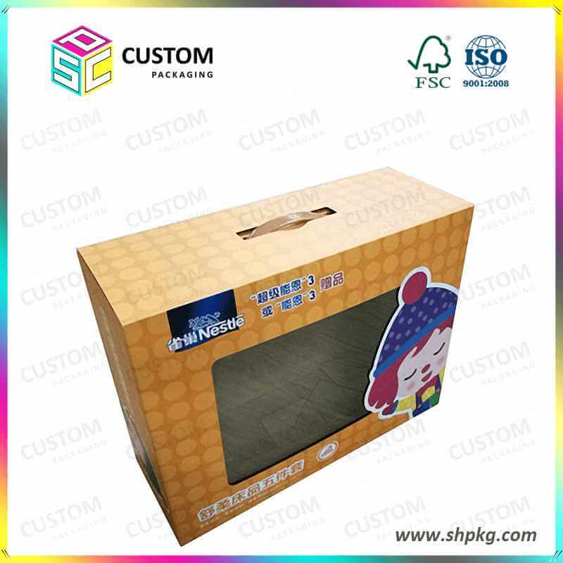 corrugated gift box with handle, cardboard boxes, packaging
