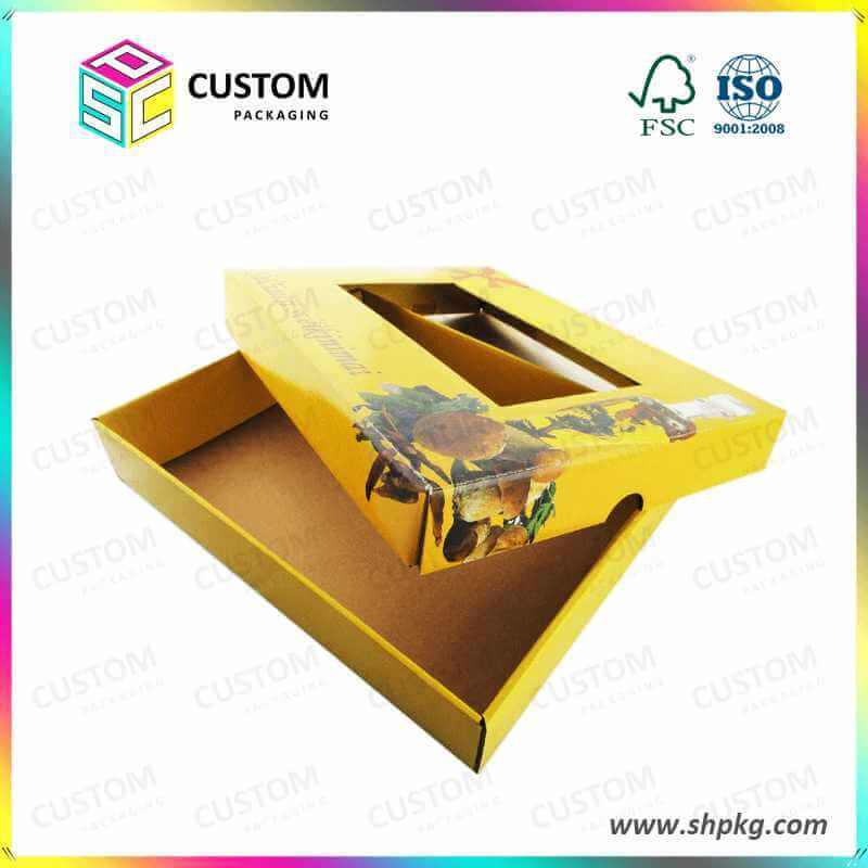 flat packaging box with window