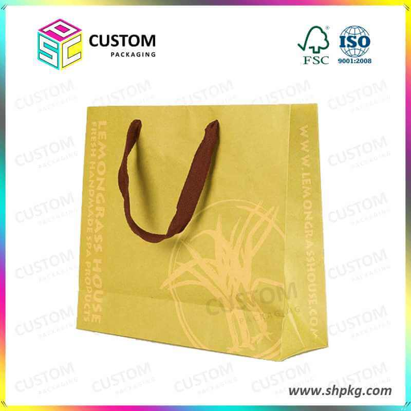 golden colour shopping bag