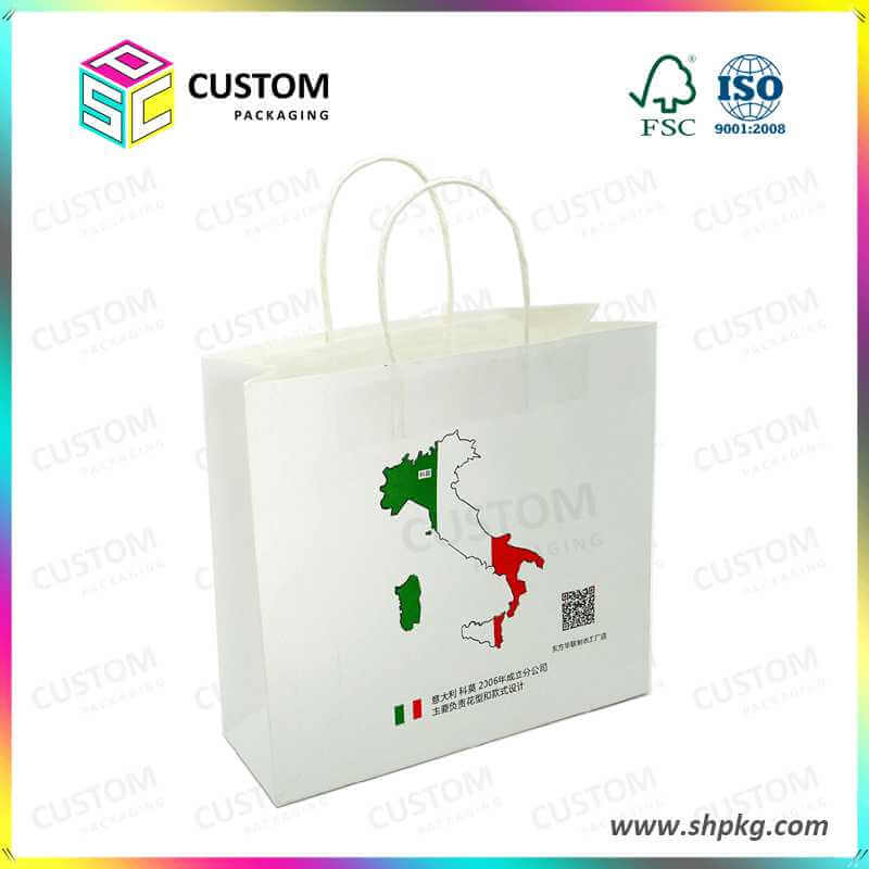 hotsale white kraft shopping bags