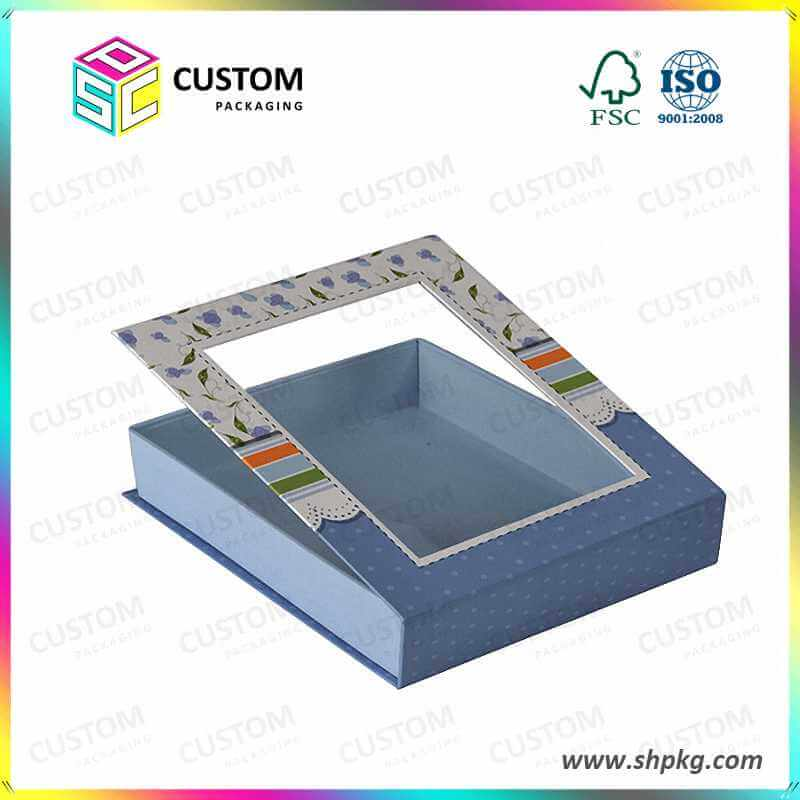 light blue gift box with clear window