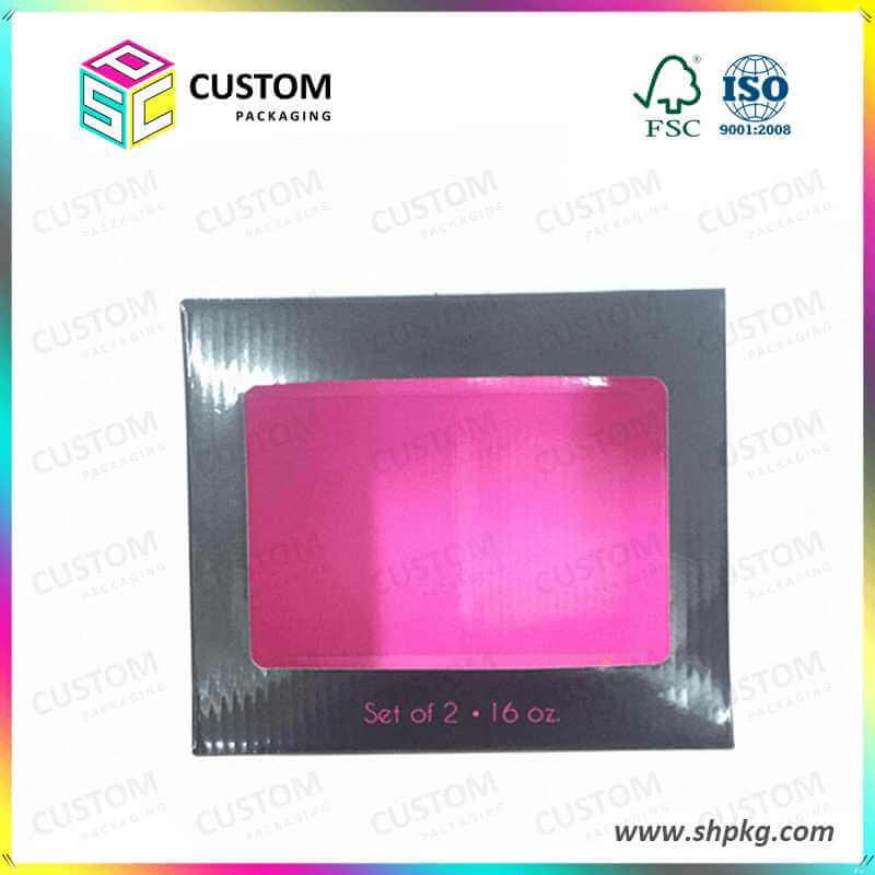 pink corrugated box with top window