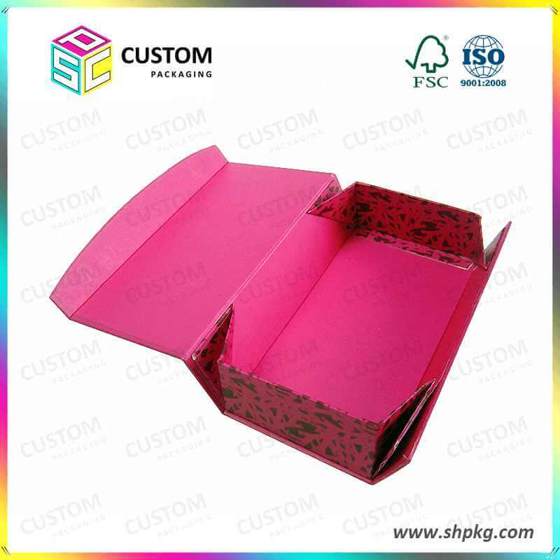 Pink foldable gift packaging boxes