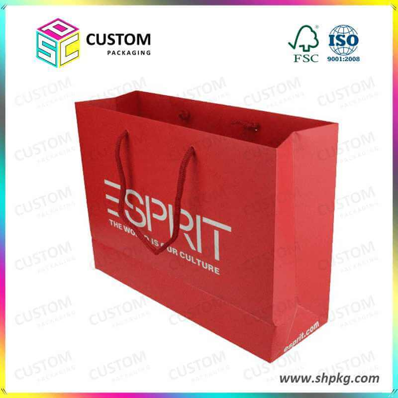 red glossy paper bag