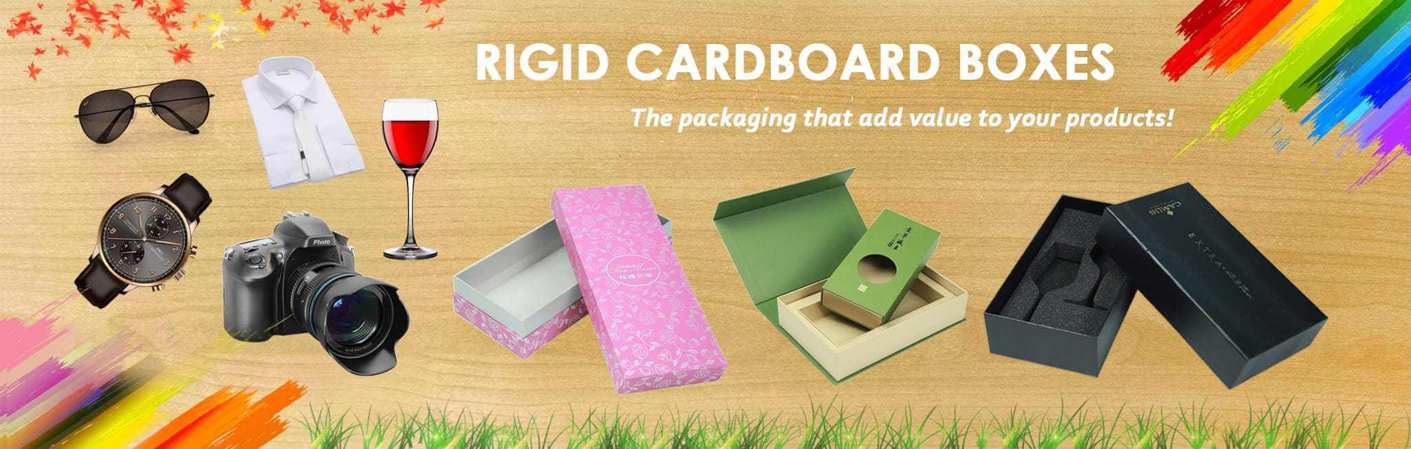 Rigid cardboard boxes