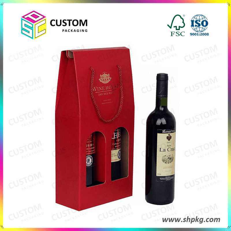 two pack handle boxes for wine